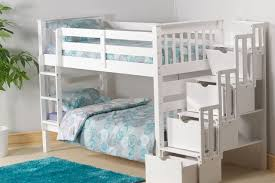 Bookcase Bunk Beds Staircase Bunk Bed White Waxed Built In Storage Steps Bedtime Bedz