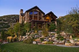 landscaping with rocks exterior rustic with bbq pit boulders