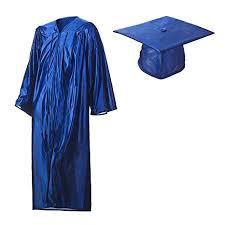 blue graduation cap graduation cap and gown set shiny royal blue in