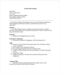 Sample Resume Office Manager by Manager Resume Sample Templates 43 Free Word Pdf Documents