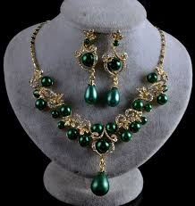 green color necklace set images Fashion bridal wedding jewelry sets koreal pearl rhinestone green jpg