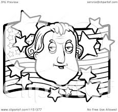 cartoon clipart of a black and white george washington over an