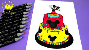 draw color mickey mouse cake disney coloring