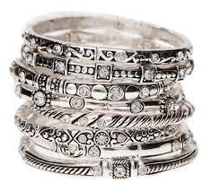stackable bracelets 12 set of bling silver stackable bracelets wholesale ssb012s