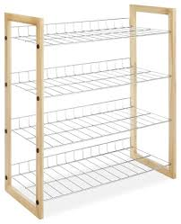 4 shelf closet shoe rack with natural wood frame and chrome wire
