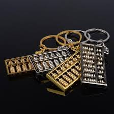 unique key ring vintage abacus pendant keychain metal counting frame