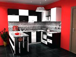 black and white kitchen cabinets with red wall walls cherry paint