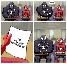Spiderman Funny Meme - venom thinks he s so funny messing with spider man in marvel class