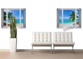 tropical window wallpaper mural wall murals you ll love tropical beach window 2 one piece canvas l stick wall mural