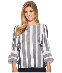 ivanka blouse ivanka cotton striped tie sleeve blouse at zappos com
