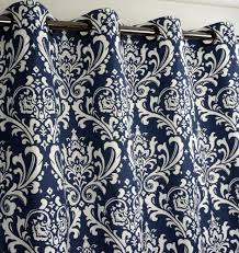 new tahari navy blue base medallion damask window curtain panels