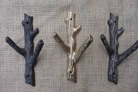 Bathroom Towel Tree Rack Rustic Tree Branch Wall Hook Cast Iron Metal Or Gold Coat