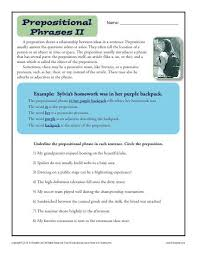 preposition worksheet prepositional phrases prepositional