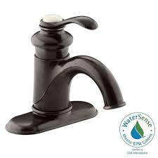 Oil Rubbed Bronze Widespread Bathroom Faucet by Kohler Fairfax Single Hole Single Handle Mid Arc Water Saving