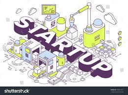 vector illustration word startup three dimensional stock vector