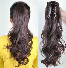 clip on ponytail clip in ponytail pony hair extension wrap on hair wavy