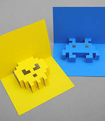 how to make 3d pixel pop up christmas cards popup cards and 8 bit