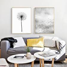 white walls home decor nordic dandelion painting poster print scandinavian canvas