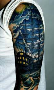 pirate ship and crescent moon tattoos on chest photo 1 2017
