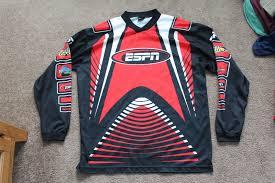 rare vintage espn motocross moto x long red black sleeve jersey