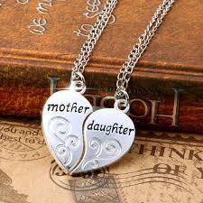 love heart chain necklace images Premium 2 pc silver plated mother daughter heart love pendant jpg