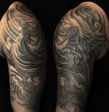 half sleeve black and grey 3 tattoos