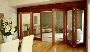 Dark Brown Wooden Frame For Glas Patio Door Using Khaki Drappery