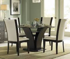 daisy 710 54 5pcs espresso glass round dining table set white chairs
