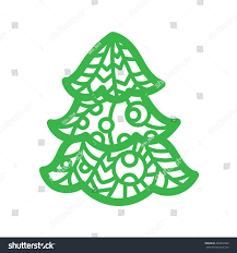 christmas tree laser cutting template pumpkin stock vector