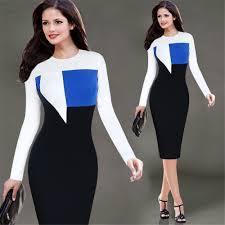 hit color patchwork elegant women o neck long sleeve pencil club