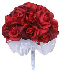 Silk Bridal Bouquets Red Silk Rose Hand Tie Bridal Bouquet 24 Roses