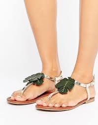 new look palm tree flat sandal in metallic lyst