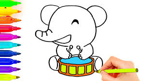 how to draw coloring pages how to draw animals elephant playing drum coloring pages simple