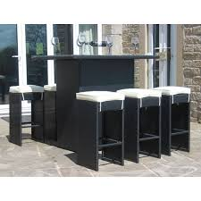 high table with stools rattan outdoor 6 seat high table stool bar set garden furniture