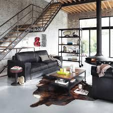 canap loft maison du monde canapé vintage 3 places en cuir noir maisons du monde