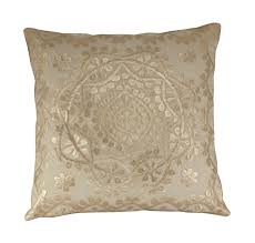 Callisto Home Pillows by Moroccan Boho Cushion Cover Gold Embroidered Cushion Gold