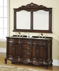 Bathroom Square Sink Rectangle Mirror Floating Brown Cream Wooden Vanity With White Sink Above Feat F