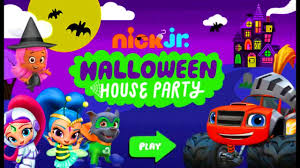 nick jr halloween house party game with blaze shimmer and shine
