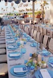 blue and white table decorations backyard huppah
