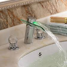Led Bathroom Faucets Chrome Finish Contemporary Two Handles Led Waterfall Glass