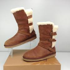 womens ugg boots leather ugg australia becket chestnut brown leather boots s size 11