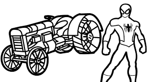spiderman and red tractor coloring book coloring pages kids fun