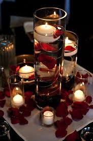 floating candle centerpiece ideas flower petals floating candle light vase wedding in 2014