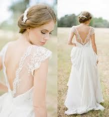 vintage cap sleeve lace chiffon v neck beach white ivory wedding