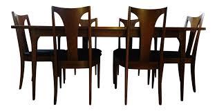 mid century modern broyhill brasilia sculpted walnut dining room