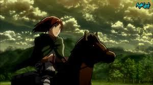 sasha on horse outside the wall attack on titan screenshot