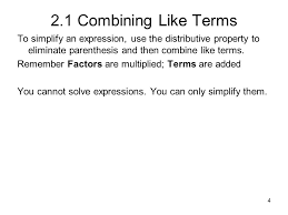 1 2 1 combining like terms let u0027s review some terminology