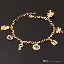 rose gold plated charm bracelet images 18k real gold plated evil eyes cute bracelet key lock bear hearts jpg