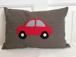 nursery car applique pillow cover red car crib pillow
