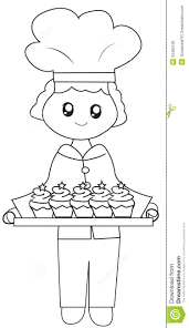 the chef his baked cupcakes coloring page stock illustration